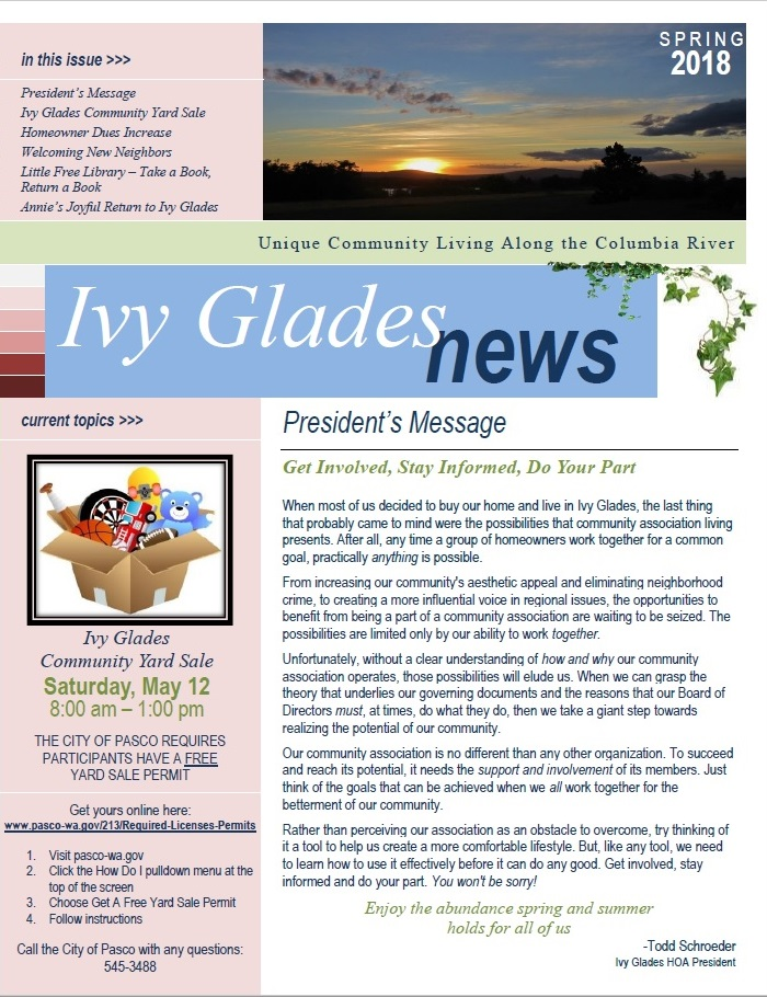 Ivy Glades News Spring 2018 Ivy Glades Homeowners Association